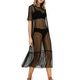 $enCountryForm.capitalKeyWord NZ - 2019 Mesh cover up Hot summer polka dot print beachwear bikini dress women lady short sleeve bathing clothes vintage see-through