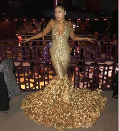 $enCountryForm.capitalKeyWord Australia - Sexy Gold Deep V Neck Prom Dresses With Rose Train Low Back Mermaid Evening Gowns Count Train African Vestidos Party Dress