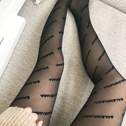 Wholesale fashion women tight dress for sale – plus size Full Small Letter Slim Tights Popular Women Black Tights Fashion Sexy Dress Stockings Night Club Party Pantyhose Thigh High Stockings