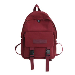 Discount girls new college bags - OCARDIAN New Fashion Simple Women Girl Fresh Literary college Bag Pure Color Canvas Laptop Backpack For Students Travel