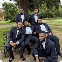$enCountryForm.capitalKeyWord Australia - High Quality One Button Navy Blue Groom Tuxedos Peak Lapel Men Suits 2 pieces Wedding Prom Dinner Blazer (Jacket+Pants+Tie)