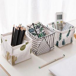 Linen Boxes Storage Australia - Desktop Storage Basket Cotton Linen Sundries Storage Box Makeup Bag Striped Pine Cactus Printed Organizer Case #EP