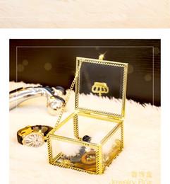 $enCountryForm.capitalKeyWord Australia - Fashion Watch boxes Gold Glass square watch case jewelry display box storage box