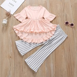 Old Suits Australia - 3-8 years old Little Girl Brief Set Summer Outfit Solid Tops+ Striped pants 2pcs set, European and American style INS cute girl suit