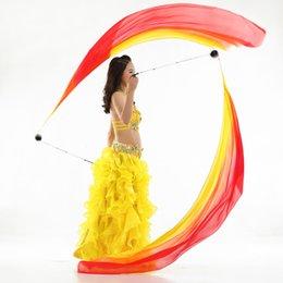 Belly Costumes Australia - 2x Belly Dance Silk Veil Poi Balls Scarf Yoga Dancing Costume Props 200x70cm
