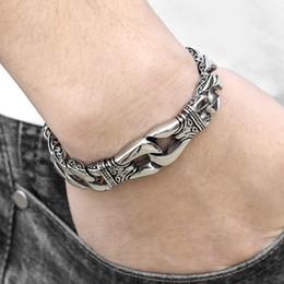 $enCountryForm.capitalKeyWord Australia - Men's Bracelet 316l Stainless Steel Curb Cuban Link Bracelet Totem Knot Charm Wristband Male Jewelry Dropship Gift For Men Hb10 J190625