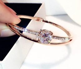 $enCountryForm.capitalKeyWord Australia - super glittering shining ! New fashion ins luxury designer cute exquisite diamond zircon bangle bracelet for woman girls 18cm rose gold