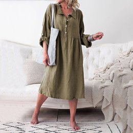 6ad7eb1a7ef Women Loose Style Linen Summer Dresses Basic Long Sleeve Shirt Dress Collar Buttoned  Dresses Solid Color Casual