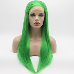 Straight half wigS online shopping - 2019 New Cosplay Straight Long Green Wig Half Hand Tied Heat Resistant Glueless Synthetic Lace Front Wigs for Women Free Part