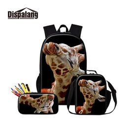 Wholesale Giraffe School Backpack Cute Animal Insulated Bag Children Lightweight Bookbag Girls Satchel Boys Lunch Box Pencil Case