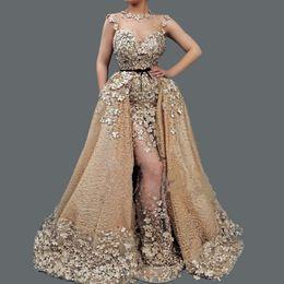 Beaded Illusion Australia - Luxuey Beaded Applique Lace Evening Dresses Illusion Neckine Mermaid Evening Gowns Custom Made 2019 Prom Dress Vestido De Fiesta