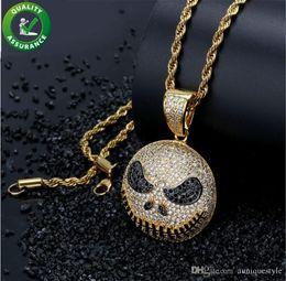 $enCountryForm.capitalKeyWord Australia - Iced Out Pendant Hip Hop Jewelry Mens Emoji Cartoon Jack Skellington Pendant Necklace with Gold Chains Micro Paved CZ Stone Luxury Designer
