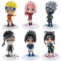 Sakura Figures Australia - 6Pcs set Anime Naruto Cartoon Q Version Naruto Kakashi Sakura Sasuke  PVC Model Toys Action Figure For Kids Collectible Toy Doll