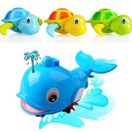 Discount turtle toy bath - 1Pcs New Cute Animal Turtle Dolphin Baby Shower Toy Children Bath Classic Clockwork Toys Kids Swimming Pool Accessories
