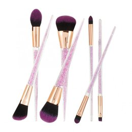 Discount glitter eye makeup kit - 7pcs Delicate Purple Makeup Brushes Set Contour Foundation Blush Cosmetic Brushes Kit Eye Makeup with Glitter