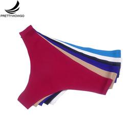 Prettywowgo 6 Pcs lot Seamless Underwear 2019 New Arrival Women 6 Color G String Seamless Thong Panties M L Xl Xxl 7288 J190614 on Sale
