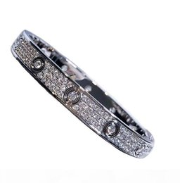 mens steel diamond bracelet UK - Fashion Luxury Full Diamond Stainless Steel Bracelet Fashion Womens Mens designer Love iced out Bracelets Cuff Bangles Screwdriver Jewelry