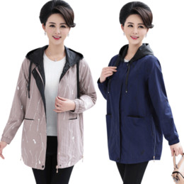 Zipper Clothes Australia - loose plus size trench coat for middle age mother clothes 2019 spring autumn new hooded printed women casual zipper jacket