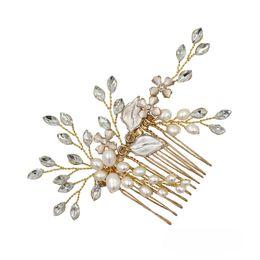 $enCountryForm.capitalKeyWord UK - wholesale Handmade Freshwater Pearl Bridal Hair Comb Jewelry Gold Color Floral Women Headpiece Wedding Accessories