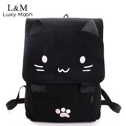 $enCountryForm.capitalKeyWord NZ - Cute Cat Canvas Backpack Cartoon Embroidery Backpacks For Teenage Girls School Bag Fashio Black Printing Rucksack Mochilas Xa69h Y19061004