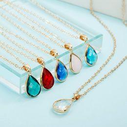 Gem chains online shopping - Birthstone Necklace Natural Water Drop Pendant Necklace Quartz Gem Stone Crystal Diy Charm Imitatiion Zircon for Women