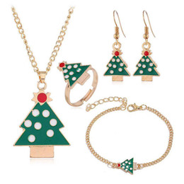 christmas trees rings gift NZ - Sale Vintage Retro Fashion Accessories Jewelry Sets Earrings Christmas Tree Pendants Chains Necklaces Charm Bracelets Finger Rings For Women