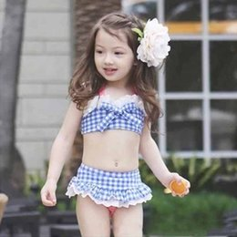 Three Piece Suit Bow Australia - Kids Girl Split Swimsuit Designer Swimsuit Lattice Bow Sleeveless Bandage Briefs Solid Color Lace Three-Piece Suit Swimwear