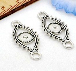 wholesale jewelry evil eye connectors 2019 - 100Pcs Antique Silver Three Evil Eye Connectors Pendant Charms For necklace Jewelry Making findings 29x12mm discount who