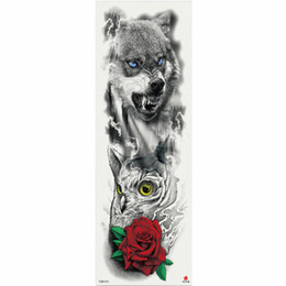 China 1 Piece Temporary Tattoo Sticker Russian Bear Rose Flower Pattern Full Flower Tattoo With Arm Body Art Big Large Fake Tattoo suppliers