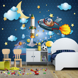 $enCountryForm.capitalKeyWord Australia - 3d Papel parede Outer Space Universe Airship 3d Cartoon Wallpaper Mural for Child Room Wall Sticker 3d Photo Mural Wall paper