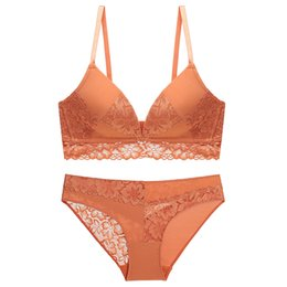 $enCountryForm.capitalKeyWord UK - French sexy deep V lace comfort bra women without underwire orange commode bra set