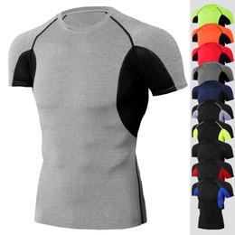 Shirt clearance online shopping - 2019 Clearance gym tshirt for men Logo Custom Tights Fitness male rashgard sport shirt man Compression gym shirt