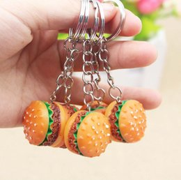 $enCountryForm.capitalKeyWord Australia - Cute Hamburger Keychain Simulation Food Hamburger Pendant Key Ring Novelty Key Chain Christmas Birthday Gift DHL Free Shipping