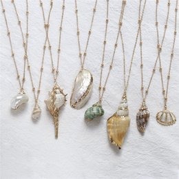 summer necklaces Australia - 2019 Boho Conch Shells Necklace Sea Beach Shell Pendant Necklace For Women Collier Femme Shell Cowrie Summer Jewelry Bohemian