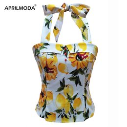 Wholesale 50s clothing resale online – Summer Vintage s s Top Shirt Lemon Yellow White Printed Button Halter Pinup Retro Shirts Cropped Tops Shirts Rock Clothing