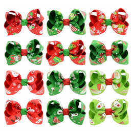 Hair bows 12 online shopping - Baby Girls Bow Barrettes Design Bow Printed Rib Belt Christmas Hairs Bows Girls Hair Bows Baby Headbands Girls Hairs Clips
