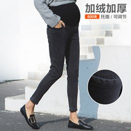 Women Velvet Clothes Australia - Plus Velvet Jeans For Pregnant Women Autumn And Winter Tide Mom's Maternity Clothes Thick Fleece Large Size Stretch Tummy Pants