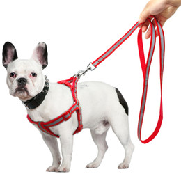 Chirstmas Led Lights Australia - Small Dog Harness and Leash Set Reflective Step in Dogs Puppy Harness Pet Vest and Leads for French Bulldog Chihuahua Yorkshire