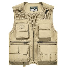 pockets photography vest Australia - Summer Vest Men Collarless Mesh Breathable Sleeveless Jacket Multi-pockets Tactical Vest Outdoor Fishing Photography Waistcoat