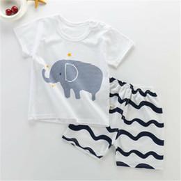 Hot Boys Winter T Shirt Australia - Newborn Kids Boy Short Sleeve T-shirt Tops Striped Shorts Pants Summer Hot New Baby Boy Clothes Cute Animal Pattern Top + Shorts