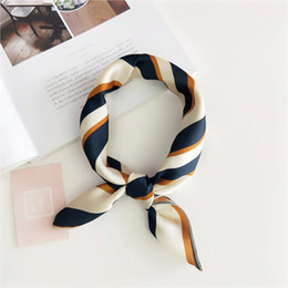 Rayon Hair Australia - Elegant Women Square Silk Head Neck Feel Satin Scarf Skinny Retro Hair Tie Band Small Fashion Square Scarf 2018 New Women Fashion Scarf