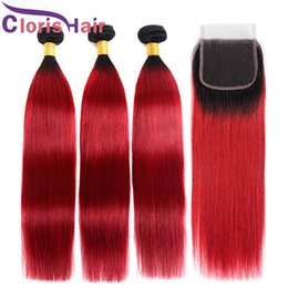 Discount straight dark red hair - Dark Roots Red Ombre Human Hair 3 Bundles Raw Virgin Indian Straight Hair Weaves With Lace Closure Colored 1B Red Ombre