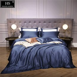 $enCountryForm.capitalKeyWord NZ - 140S Egyptian Luxury Modern Bedding Set Blue 4Pcs King Queen Bed Sheet Duvet cover Pillow sham Simple Bright Hollow Pure Color