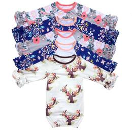Wholesale sleep tops online – 41 Colors Thanksgiving Christmas Ruffle long sleeves Sleeping Bags Infant Swaddling Baby Stripe Flower Deer Print Sleeping Bag tops M534