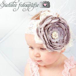 $enCountryForm.capitalKeyWord Canada - Lace baby headbands feather kids headband large flower newborn designer headband designer headbands hair accessories girls head bands A5787