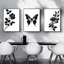 simple flower painting art Canada - Black and White Wall Decor Art Minimalist Flower Butterfly Canvas Painting Abstract Home Wall Decorative Posters 3pcs Simple Wall Pictures N