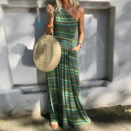 ladies casual floor length dresses Canada - Summer Striped Dresses For Womens Fashion Boho Beach Loose Sleeveless Dress Ladies Off Shoulder Daily Holiday Floor-Length Dress