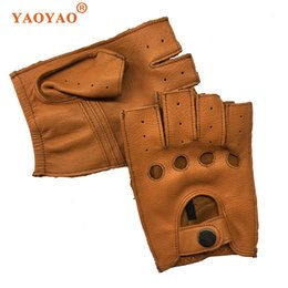 $enCountryForm.capitalKeyWord Australia - Men Spring Genuine Leather Fingerless Thin Short Gloves Male Stylish Fitness Locomotive Luvas Black Yellow Brown Suede Eldiven