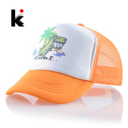 $enCountryForm.capitalKeyWord Australia - Mesh Baseball Caps Kids Lovely Cartoon Dinosaur Snapback Hats For Baby Boys And Girls Outdoor Children Breathable Sun Bones Cap