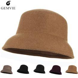 Otoño Invierno Mujer Sombreros Gorras Elegante Sombrero de Cubo Sólido  Color Suave Brim Campaniform Top Hat 100% Fieltro de Lana 83360e5d70b1